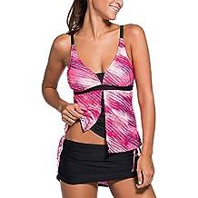 Minetom Bañador Tankini De Dos Piezas Mujer Bikini Top Shorts Colores Opcionales Verano Elegante Cómodo Rendijas Beach Swimwear