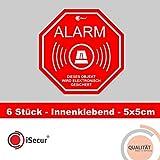 6 Stück Aufkleber 'Alarm', iSecur®, alarmgesichert, 50x50mm, Art....