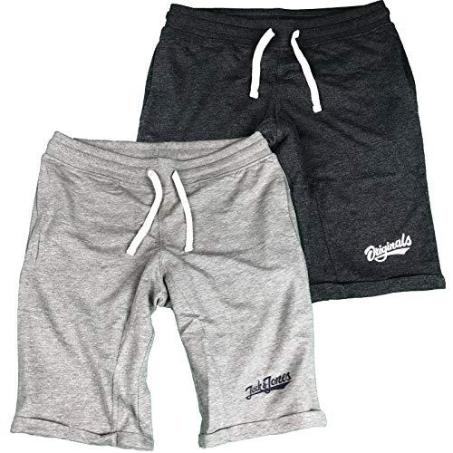 JACK & JONES Herren Sweat Shorts Kurze Hose Sporthose Training Sport Camouflage Anakin Pai S M L XL XXL (XXL, 2er Pack Dunkelgrau/Hellgrau)
