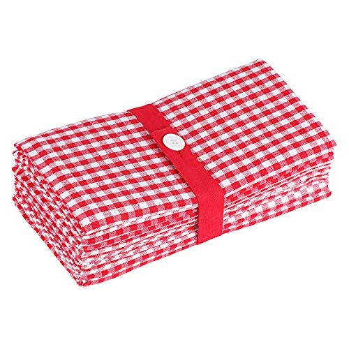 SweetNeedle Gingham Checks Servietten 12er Pack - Rot-Weiß - 50 x 50 cm - 100% Baumwollgarn gefärbt - Übergröße, schwere Qualität, Fusselfrei, Hotelqualität, Gesäumte Ecken Gingham Checks, Serviette