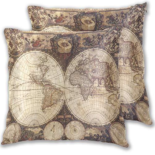 (Wamika Kissenbezug, Motiv alte Karte, aus Baumwollleinen, 40,6 x 40,6 cm, 2 Stück, Baumwolle, Multi, 20x20)