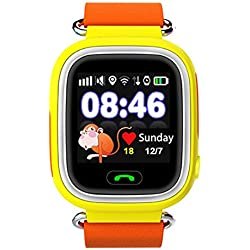 Joyeer Smart Watch Baby-Uhr GPS-Telefon Positionierung Mode Kinderuhr mit 1,22 Zoll Touchscreen Wifi SOS Call Location Device Tracker für Kinder Safe Anti-Lost Monitor , orange