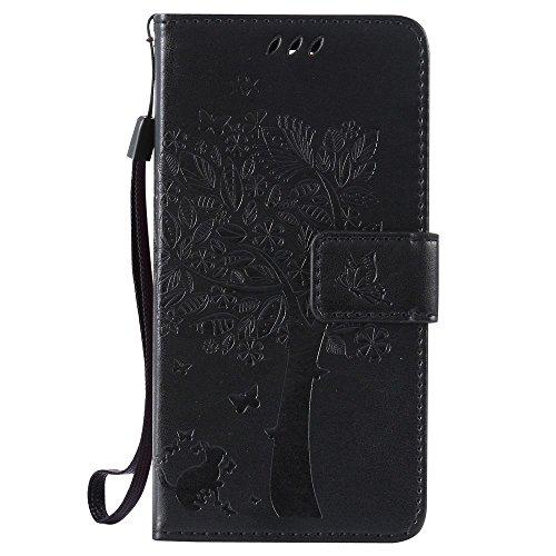 LG G3 s Hülle Leder Handytasche Karikatur Katze und Baum Relief Muster, Elegant Handyhülle für LG G3 s Flip Magnetisch Schutzhülle Ledertasche Schutz Tasche Brieftasche, Schwarz