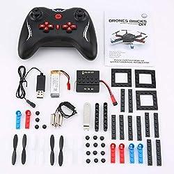 loonBonnie L222 Mini Micro RC Bloque de construcción Ladrillos 3D Quadcopter Drone Aviones UAV con Flips Modo sin Cabeza DIY para el Regalo del Principiante