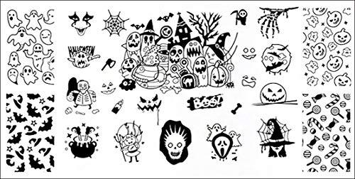 XL-STAMPING-SCHABLONE # L-005 Halloween Fledermäuse Geister Kürbis Hexe