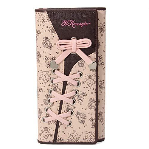 Augur Damen Elegant Süß Leder Geldbörse Mappe Damen Portemonnaie Rosa 2