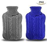 Gifort Wärmflasche mit bezug aus Gummi 2 Liter Abnehmbare und waschbare Wärmflasche mit gestrickter Abdeckung 2 pack Blau und Grau