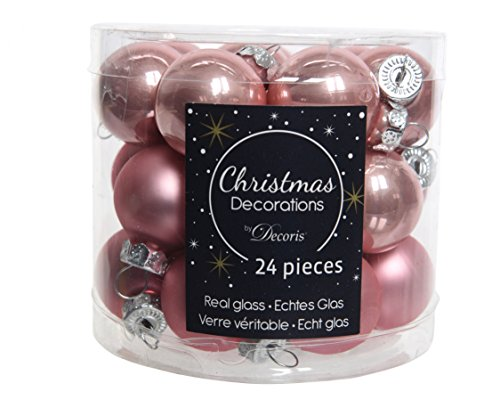 KAE 24er Set Mini - Weihnachtskugeln aus Glas 25mm (Altrosa)//Spiegelbeeren Christbaumschmuck Baumkugeln Christbaumkugeln Dose
