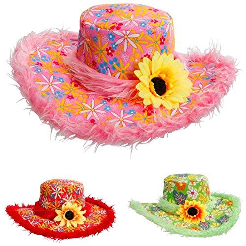 Sonnenblumen Hut (Pinker Hippie Hut Plüsch Blumenhut pink Flower Power Plüschhut mit Sonnenblume 70er Jahre Kopfbedeckung Fasching Schlager Party Faschingshut Partyhut Retro Mottoparty Accessoire Karneval Kostüm)
