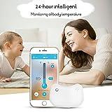 Termómetro para bebés, Termómetro Inteligente Inalámbrico para Bebés, ABEDOE, Bluetooth, Monitoreo, Monitor Inteligente de Fiebre del Bebé, 24 horas (White)