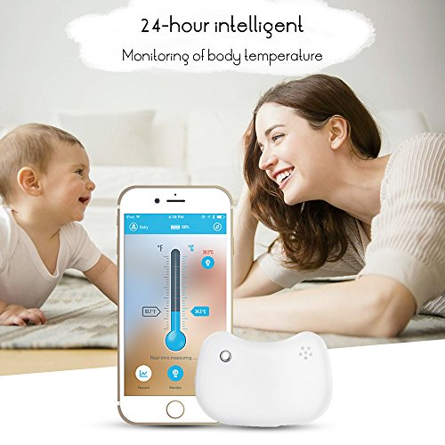 Termometro per bambini, ABEDOE Bluetooth Intelligent Baby Thermometer Monitoring Indossabile 24 ore Baby Intelligent Fever Monitor (White)
