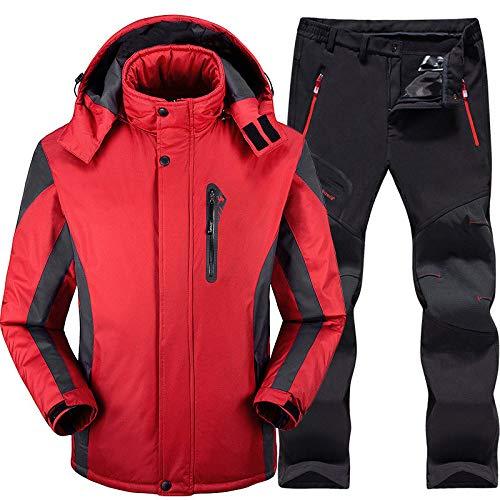 Skianzug Herren Ski- und Snowboard-Sets Superwarme wasserdichte Winddichte Snowboard-Jackenhosen Winter-Schneeanzüge Herren, rot, 5XL