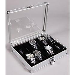 Coco Digital Silver Aluminium 12 Watch Display Case Box Perspex Lid Wristwatch Showcase
