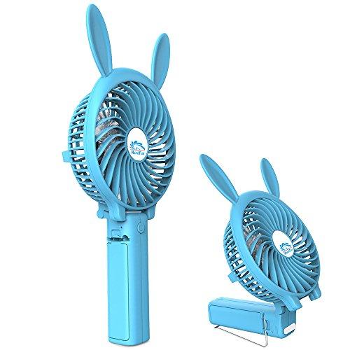 B,HandFan mini Ventilator leise Ventilatoren mit batterie, 2000 mA Akku, Einstellen Rotationsgeschwindigkeit,Tragbarer/Faltbar ventilator für Reisen und Zuhause(Blaues Häschen) (Hand-held-wasser-spiel)