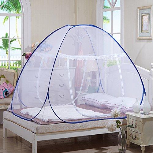 Pieghevole hanging free zanzariera per letto matrimoniale baldacchino repellente insetti malaria student letto a castello zanzariera, poliestere, blu, 1,5 m