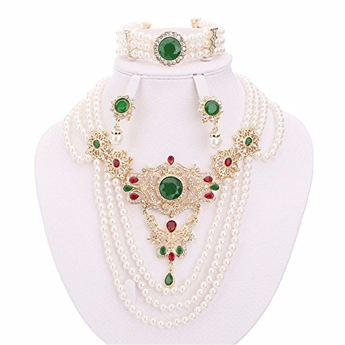 Moochi 18K Gold Plated Simulated Pearl Beads Green Round Zircon Stone Necklace Earrings Bracelet Jewelry Set Wedding Party Costume