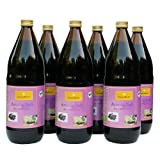 Bio Aronia Saft, 100% Direktsaft in der 1000ml Glasflasche, 6 x 1000ml