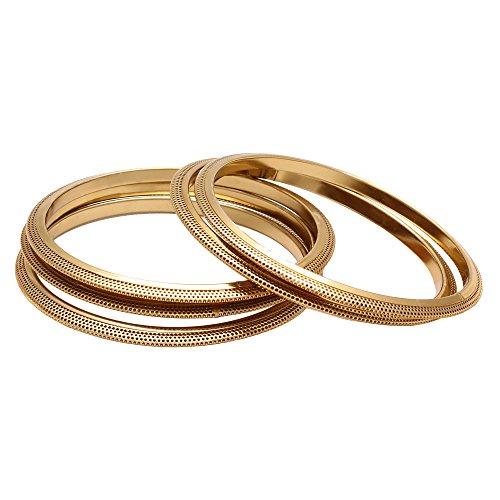 Memoir Brass Gold light weight set of four Bangles for Women (Size: 2.6)