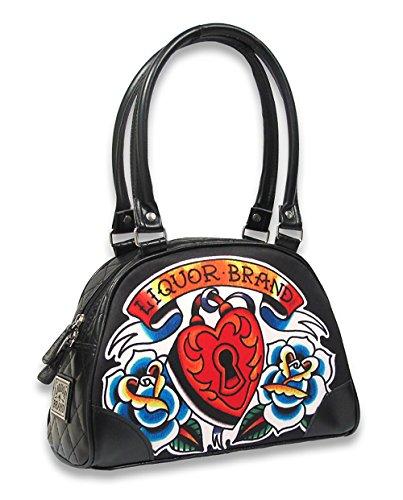 Liquor Brand Heart Locker Tattoo Bowling Rockabilly Handtasche Tasche Schwarz