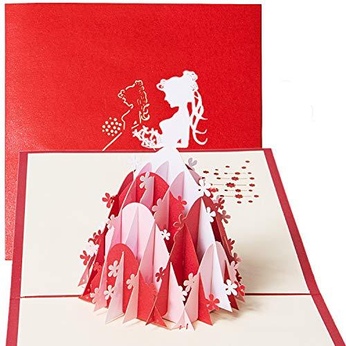 Biglietto d'auguri carta 3d compleanno romatico, pop up carta anniversario, san valentino