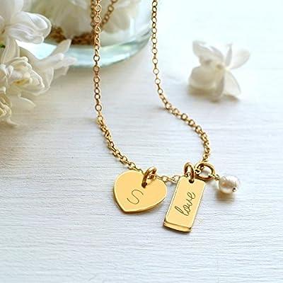 Collier en Or Personnalisé avec Petit Coeur, Mini Barre 'love' et Perle D'eau Douce, bijoux de mariée, coeur et collier de perles, cadeau pour la nouvelle maman