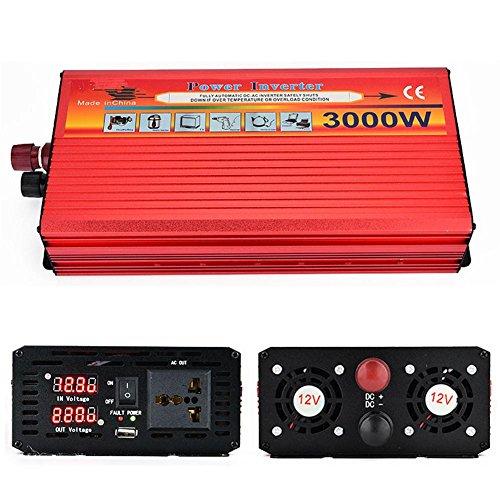 Convertisseur BQ Inverseur motorisé 3000W Puissance/onduleur LED 12v ext 220V, tablettes et téléphones, 12v to 220v/3000w