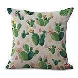 Avilage cuscini di tiro, quadrato in cotone e lino federa per divano Home Office decorative Pillowslip, 45cm x 45cm Cactus 1