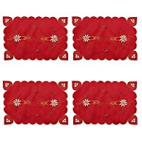 Christmas Placemats Merry Christmas Embroidered Placemats Set Red Washable Heat Resistant Non-Slip Hollow Out Lace Table Place Mats for Dining Kitchen Table Holiday Party Decorations 4 Pack Flower