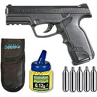 Outletdelocio. Pistola airsoft Steyr M9-A1 Co2 + Funda portabalines + Biberon 1000 bolas + bombonas Co2.