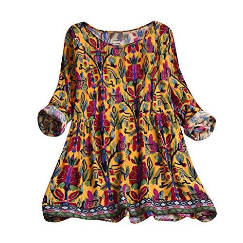 MRULIC Damen Fledermaus Hemd Lässig Locker Top Dünnschnitt Bluse Frühling Neu T-Shirt Leinenbluse Freundin(E2-Orange,EU-48/CN-4XL) -