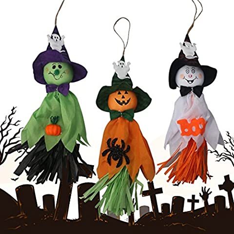 A-szcxtop Happy Halloween Décorations Spectre effrayant Poupées Cute Ghost à suspendre avec citrouille visage pour Hallowmas 3pcs un ensemble