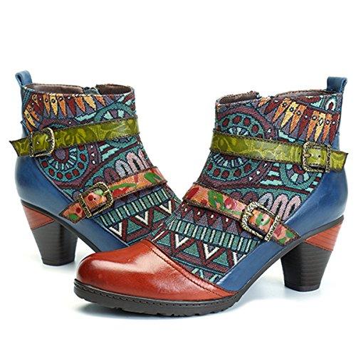 Socofy Botines De Cuero, Zapatos De Invierno De Cuero para Mujeres Bot