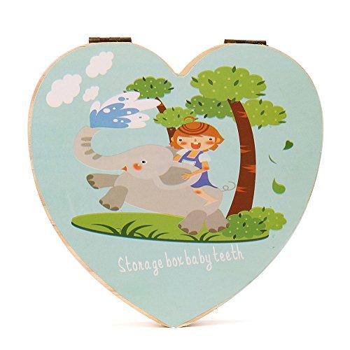 Sannysis Caja de almacenamiento de madera para Dientes de leche (forma de corazón, English, Azul)