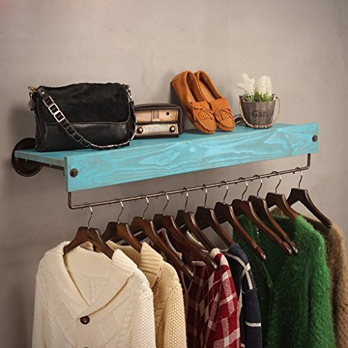 SH-qiang Garderoben Bekleidungsgeschäft Kleidung Massivholz-Display-Ständer Retro-Eisen Wand montiert Side-Mounted Hanging Racks Regale Racks Wandgarderobe (Größe : 60cm)