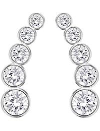 Swarovski Pendientes de mujer con acero inoxidable, cristal, blanco, 40 cm