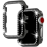 Apple Watch Case 42mm,HYAIZLZ Bling Crystal PC Plate Watch Protector Case Cover for Apple Watch Series 3/2/1 Sport & Edition,Color Black