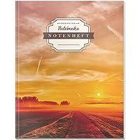 DÉKOKIND Notenheft | DIN A4, 64 Seiten, 12 Notensysteme pro Seite, Inhaltsverzeichnis, Vintage Softcover | Dickes Notenbuch | Motiv: Sunset