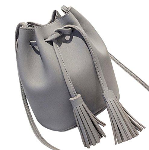 Kordelzug Cross-body-tasche (Mini Handtasche PU Leder - Umhängetasche Schultertasche mit Kordelzug, Farbe:Grau)