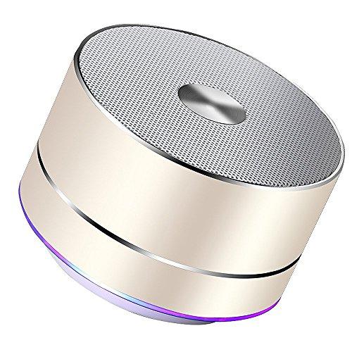 Lenrue Portable Bluetooth Lautsprecher, Wireless Outdoor Mini Wiederaufladbare Lautsprecher mit LED, Stereo Sound, Enhanced Bass, Eingebauter Mic für IPhone / IPad / Andriod / Samsung / Tablet (Gold)