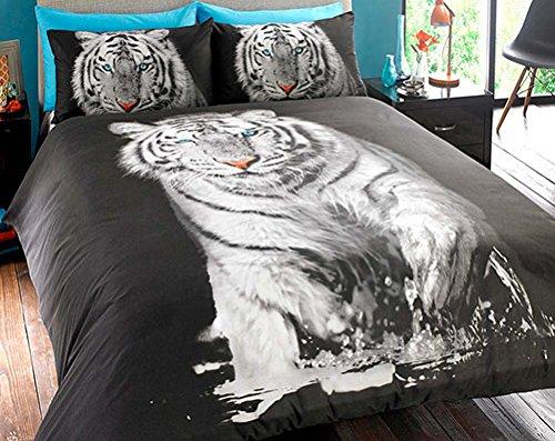 Bedding Heaven Atemberaubende Tiger Bettbezug. Quirky Fotografien Animal Print Quilt Set. Schwarz und Weiß. Single, - Tiger-print-stoff