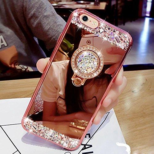 Coque iPhone 6 Plus, Coque iPhone 6S Plus, Étui iPhone 6 Plus, Étui iPhone 6S Plus, ikasus® Coque iPhone 6 Plus/iPhone 6S Plus Silicone Étui Housse Téléphone Couverture TPU avec [Diamant Ring Stand Su Or Rose