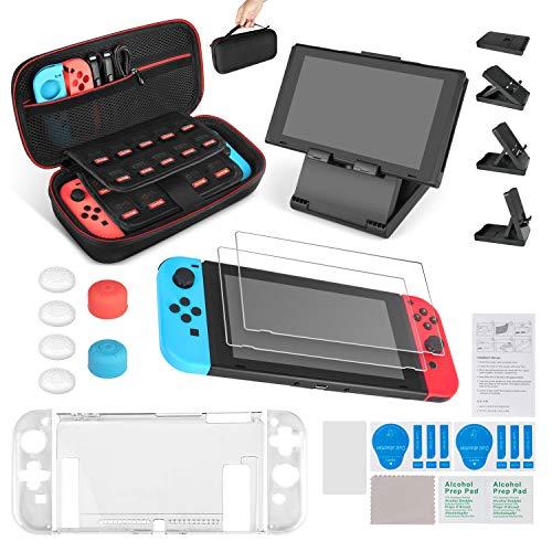 Keten Kit Accessori 13 1 per Nintendo Switch Include Custodia da Trasporto per Nintendo Switch / Cover Protettiva Trasparente / Supporto regolabile /