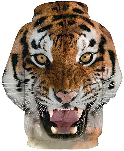EmilyLe Herren 3D Druck Kapuzenpullover Tier Kosmos Cartoon Sweatshirt Weihnachten Langarm Top Herbst Spaß Hoodie Tiger