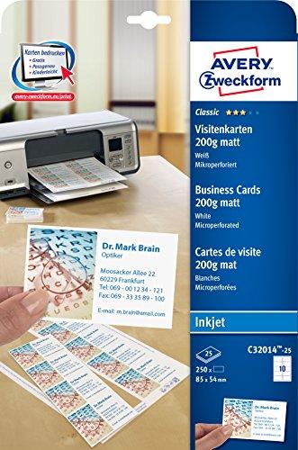 AVERY Zweckform C32014-25 Classic Visitenkarten (250 Stück, 85 x 54 mm, einseitig bedruckbar, matt, 25 Blatt)
