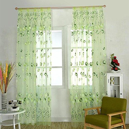 Aolvo Gardinen für Wohnzimmer, Mode Wohnkultur 7 Farbe Pastoralen Europa Stil Tulpe Blumenmuster Chiffon Fenster Vorhang