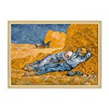Tableau sur toile, encadré, prêt à accrocher, Midi, Le Repos des Moissonneurs de Van Gogh Dimensione: 70x100cm C - Colore Legno Naturale Contemporaneo