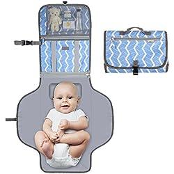 YISSVIC Cambiador de Pañales Bebé Bolso Cambiador Portátil Bebe Impermeable con Cojin Plegable y Bolsillos Adecuado para viaje o fuera del hogar