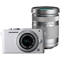 Olympus PEN E-PL3 Systemkamera (12 Megapixel, 7,6 cm (3 Zoll) Display, bildstabilisiert) weiß Kit mit 14-42mm und 40-150mm Objektiven silber