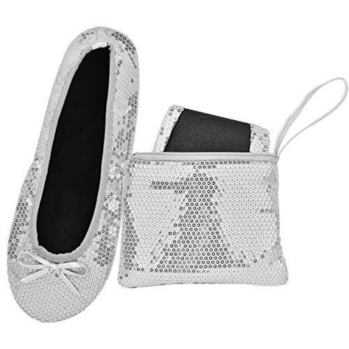 Rolly flats - scarpe da ballo, da donna, pieghevoli, portatile, con borsa, argento (paillettes argentate.), 36/37 eu