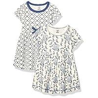 توتشد باي ناتشر فساتين من القطن العضوي للفتيات (الاطفال بعمر الرضاعة، الاطفال الصغار، وعمر الشباب) Blue Elephant Short Sleeve 2-pack 6-9 Months